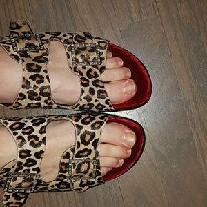 Donald J Pliner calf hair platform sandals